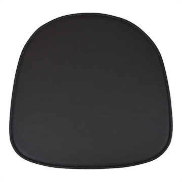 Black Standard seat cushion in Basis Select LEATHER for Eames model Plastic Armchair DAR / DAW / DAX / DAL.