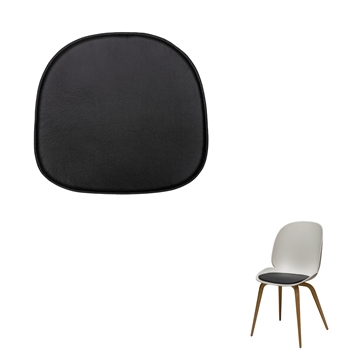 Non-reversible Luxury seat cushion in Basic Select Leather for the Gubi Beetle Chair by Camfratesi