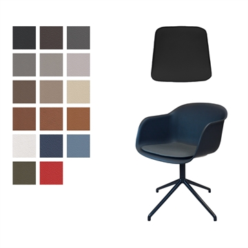 LUXURY Seat cushion in Basic Select Leather for Muuto fiber arm chair
