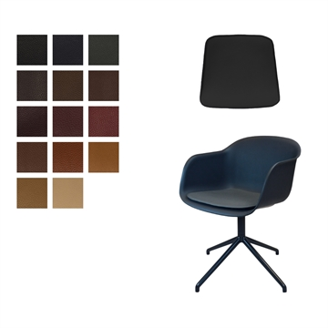 Luxury Seat cushion in Elmo Baltique Leather for Muuto fiber arm chair