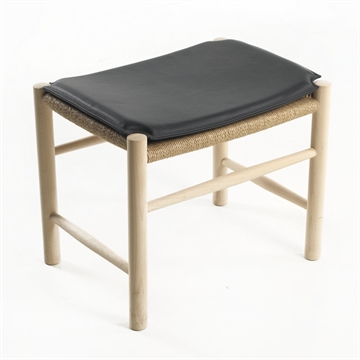 J16 footstool cushion in Basic Select Leather