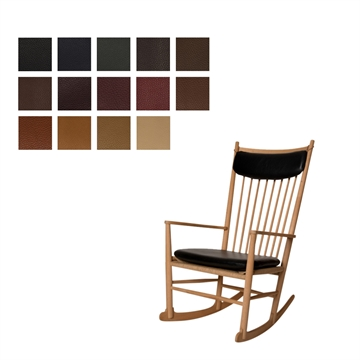 J16 rocking chair (seat and neck pillow) in Elmo Baltique Leather